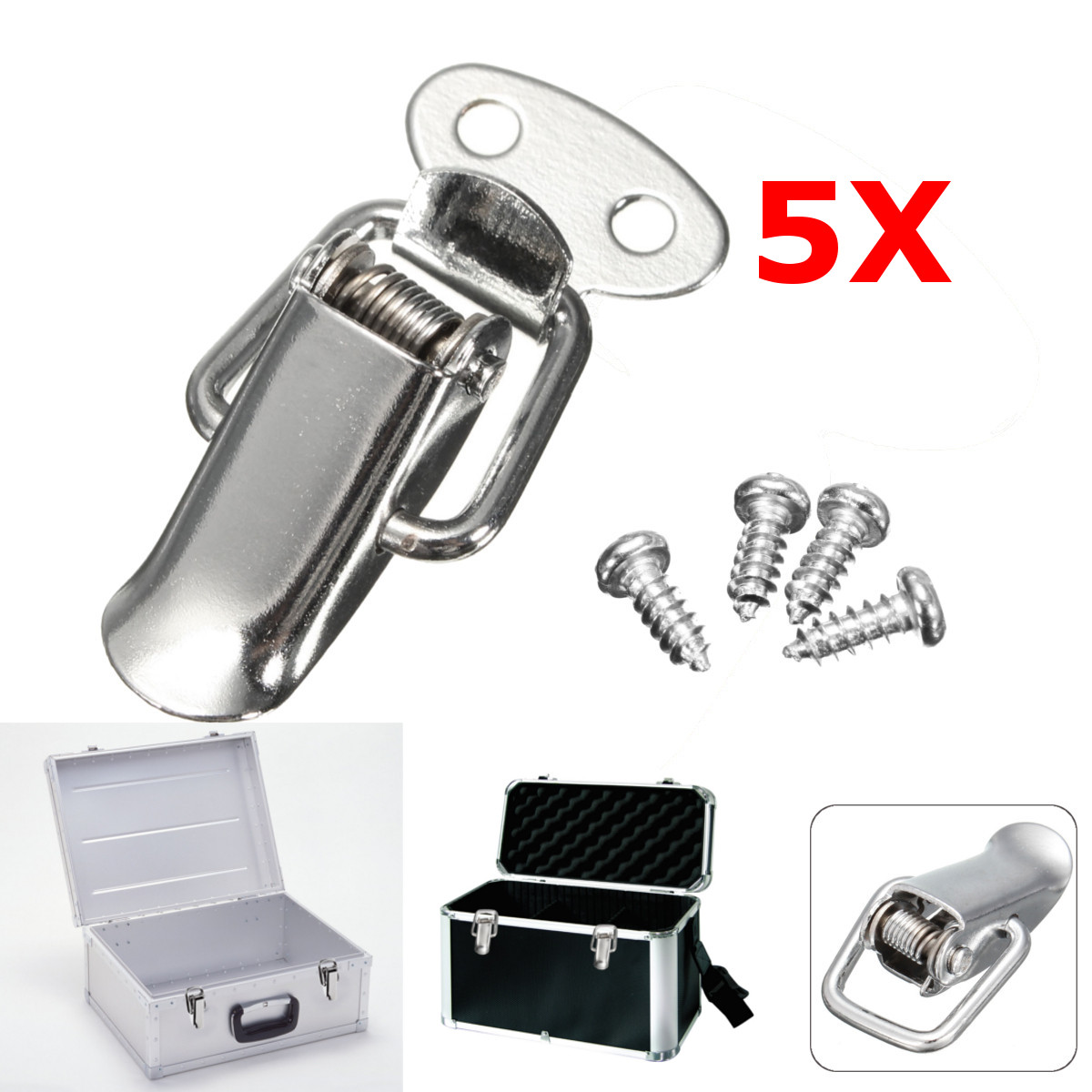 купить Wholesale 5Pcs/Set Stainless Steel Hardware Cabinet Box Case Spring Loaded Latch Catch Toggle Hasp For Home Office Shop