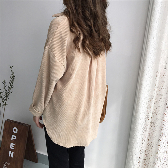 New Vintage Long Sleeve Shirts Spring and autumn Women Solid Batwing Sleeve Blouse Warm Corduroy blouses Women Tops 2