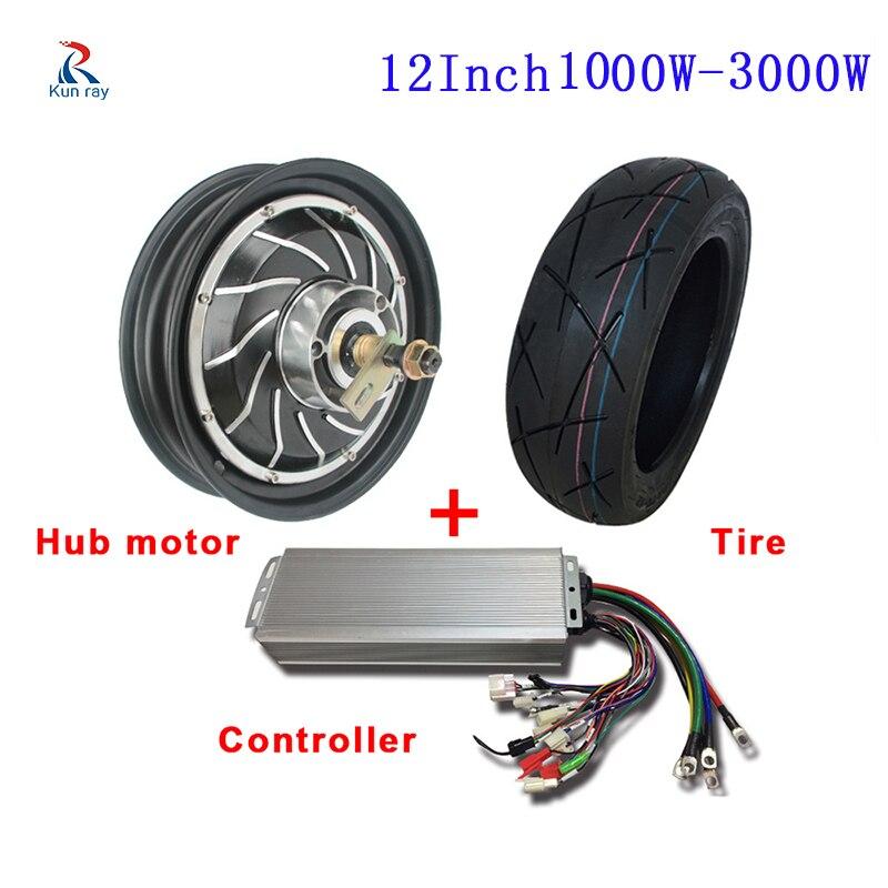 12 pouces 48 V 60 V 72 V 96 V 1000 W 1500 W 2000 W 3000 W Kits de moteur de moyeu de roue de moto électrique avec contrôleur bricolage