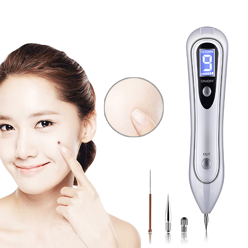 New 9 Gears LCD Laser Mole Removal Pen Freckle Senile Plaque Tattoo Remover Skin Tag Nevus Removing Electric Face Clean Machine