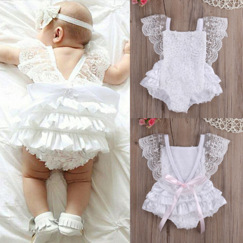 Kids Baby Girl Clothes White Lace Floral Romper Jumpsuit Sunsuit Outfit 2017 new sequins baby girl romper clothes summer sleeveless tutu skirted toddler kids jumpsuit outfit sunsuit princess costume