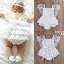 Kids Baby Girl Clothes White Lace Floral Romper Jumpsuit Sunsuit Outfit