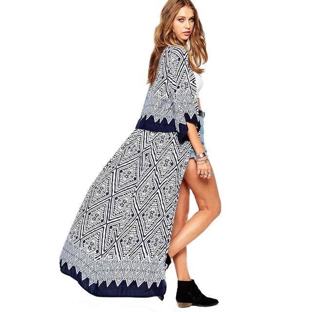 e2c7f932b5f1 € 6.34 19% de DESCUENTO|Scolour 2017 mujeres étnicas verano camisa vintage  floral impresión Blusas casual hippie Boho kimono cardigan Ladies ...