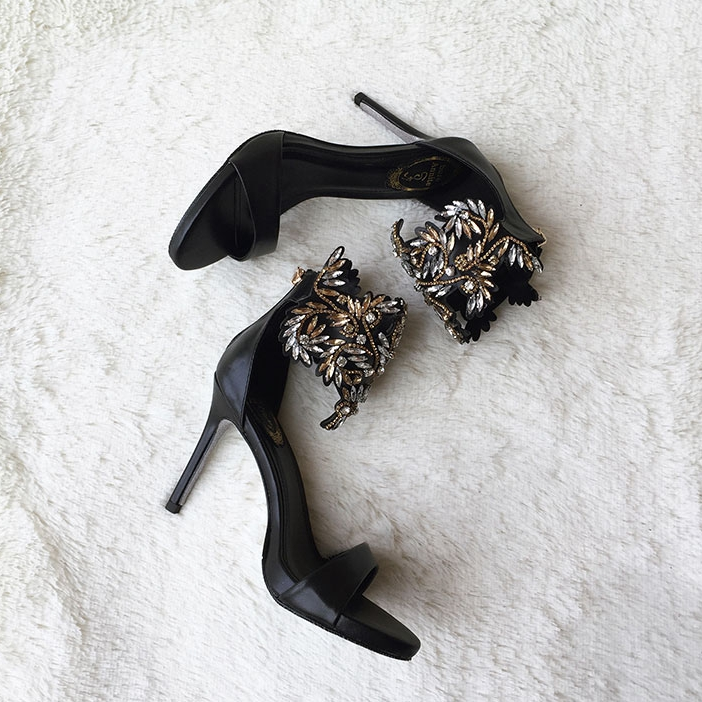 Black Rhinestones Ankle Strap Open Toe High Heels Crystals Zapatos Mujer  Wedding Evening Party Sandals 2017 New Real Images-in High Heels from Shoes  on ... c10085343946