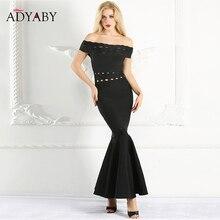 オフショルダードレスマーメイド夏 2019 新ファッションセクシーなロングマキシドレス黒スリム中空アウトフリル包帯ドレス女性