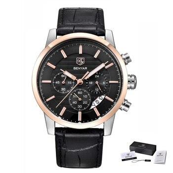 Часы BENYAR мужские, модные, аналоговые, водонепроницаемые, кварцевые, с кожаным ремешком