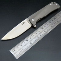 Hot Sale CH3001 Folding Knife D2 Steel Blade TC4 Titanium Alloy Handle Camping Knife Outdoor Hunting