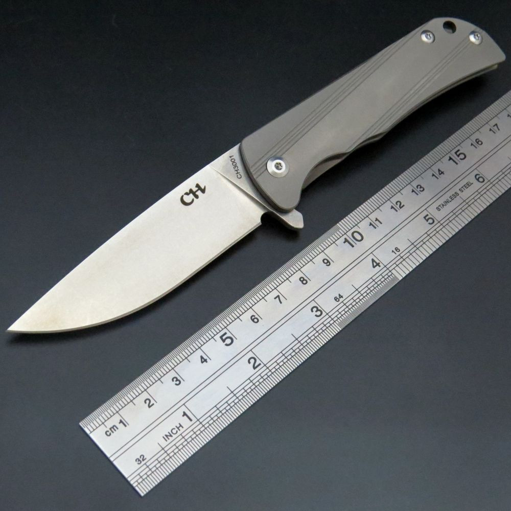 Vente chaude CH3001 couteau pliant D2 acier lame TC4 alliage de titane poignée camping couteau en plein air chasse survie main EDC outils