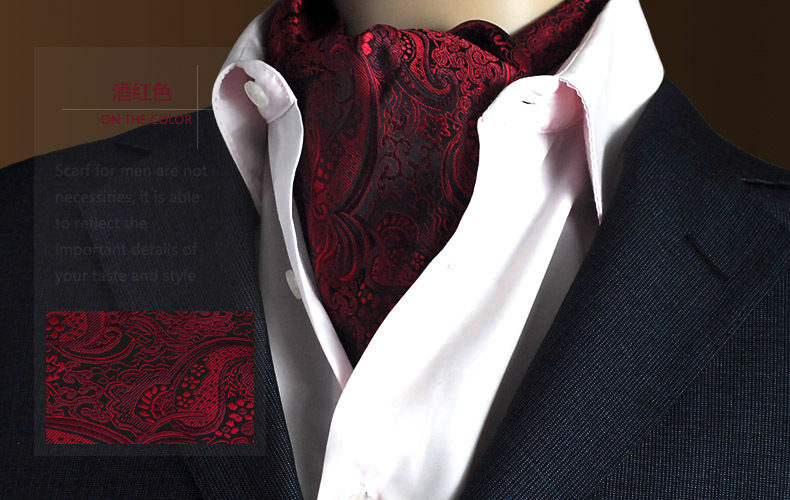 Cravat Scrunch Silk Scarves Ascot Paisley-Pattern Vintage Men's Luxury Formal Polyester