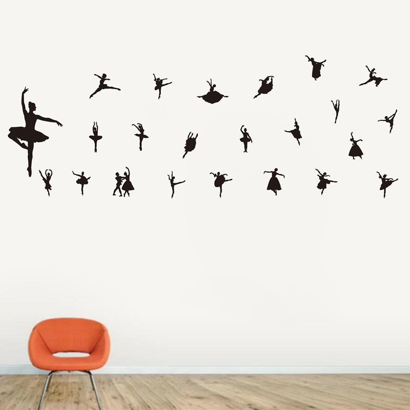 Livraison gratuite vinyle autocollant musique ballet stickers muraux, salon canapé fond amovible stickers muraux papier peint