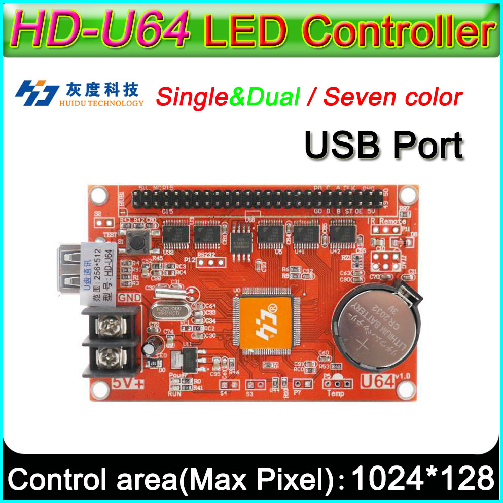 HD -U64 <font><b>LED</b></font> display controller, Single&double color P6 <font><b>P10</b></font> <font><b>LED</b></font> sign <font><b>module</b></font> <font><b>Control</b></font> <font><b>card</b></font>,U-Disk to edit and updated programs image