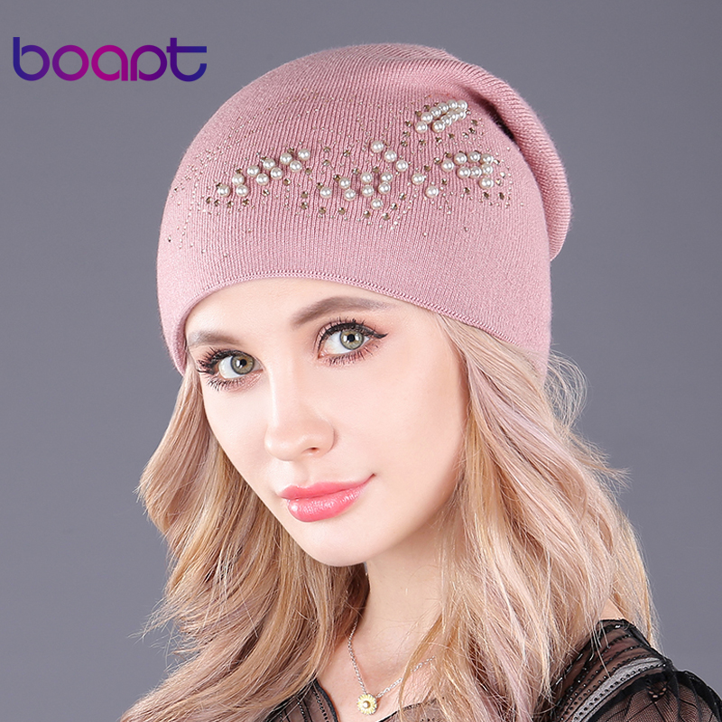 [boapt] pearl butterfly beanie double-deck cashmere knitted caps for women hats warm winter hat fashion female skullies beanies