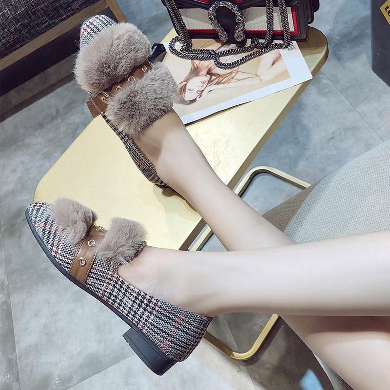 forme Carré Femelle En Slip Mocassins kaki Peluche Chaussures Noir Mode Bout On Plate 2018 Chaud Talons Casual De Dames D'hiver Fourrure Nouvelle Femmes Bas xYzU41qd