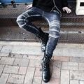 2017 New fashion brand casual Jeans men slim punk fashion vintage retro Rock denim trousers singer costumes pants
