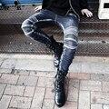2017 Nova marca de moda casual calças de Brim dos homens magro moda punk Rock retro vintage denim calças calças trajes cantor