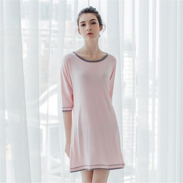 2d526d4c914 Womens Summer Natural Bamboo Modal Knitting Plus Size Sleepshirts  Night-Dress Gowns Robes Sleepwear Home wear Loungewear