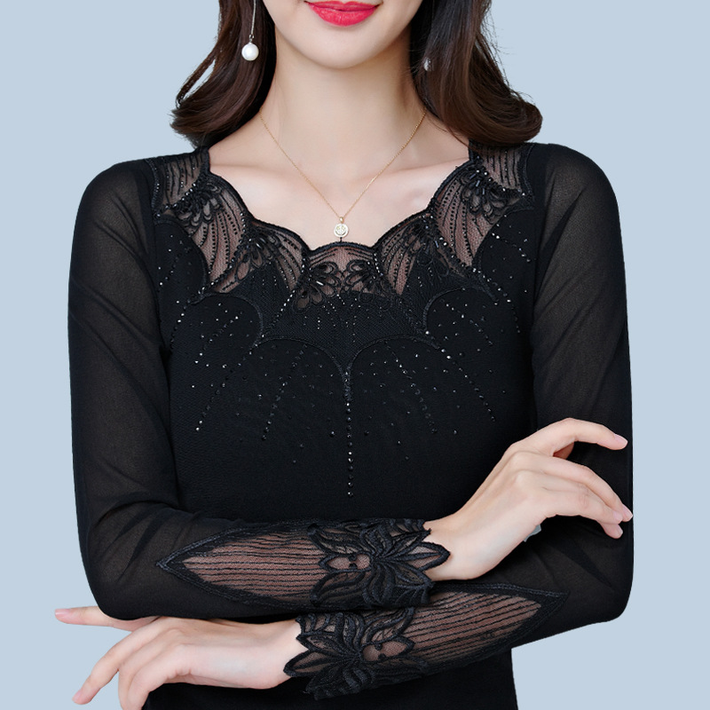 2018 New Womens Long Sleeve T-shirt Female Pure Color Korean Style Round  Neck Lace fc7eb2dfd