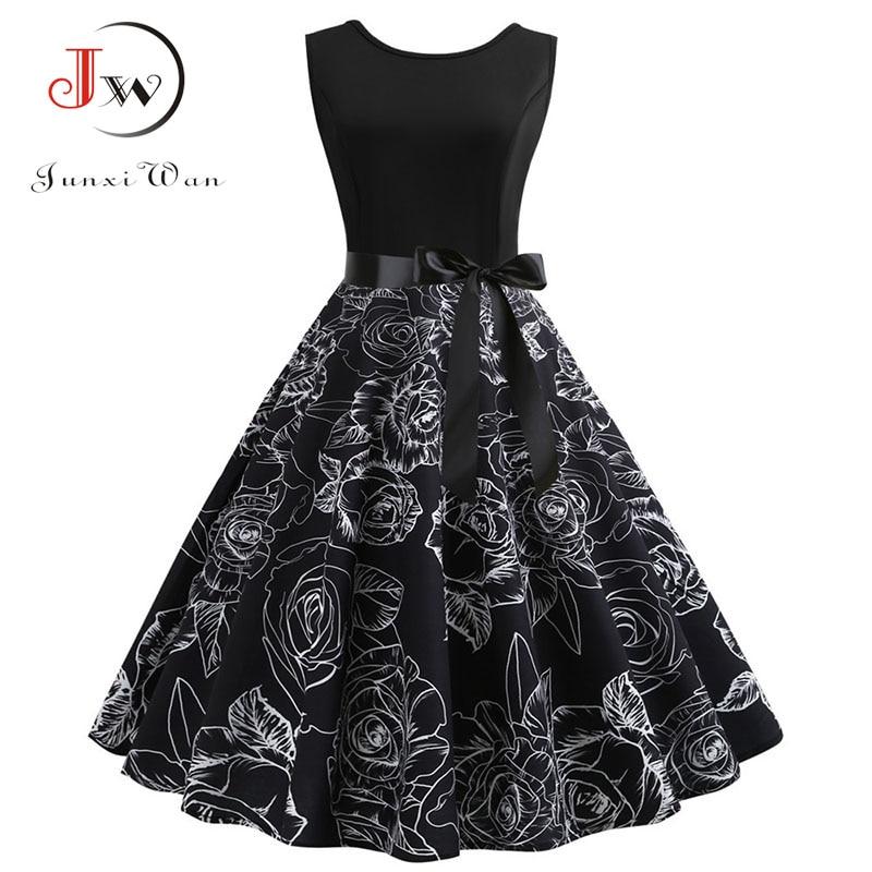 Black Print Elegant Party Dresses Summer Women 50s 60s Retro Vintage Robe Rockabilly Dress Plus Size Casual Beach Midi Vestidos