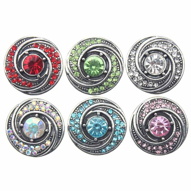 10pcs/lot Round Snap Button Jewelry Mixed Colors Ginger Metal 18mm Snap Buttons