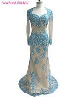הגעה חדשה Applique הכחול שמפניה שמלה לנשף עם שרוולים ארוכים אלגנטית מתוק גב פתוח חרוזים ערב רשמי שמלה