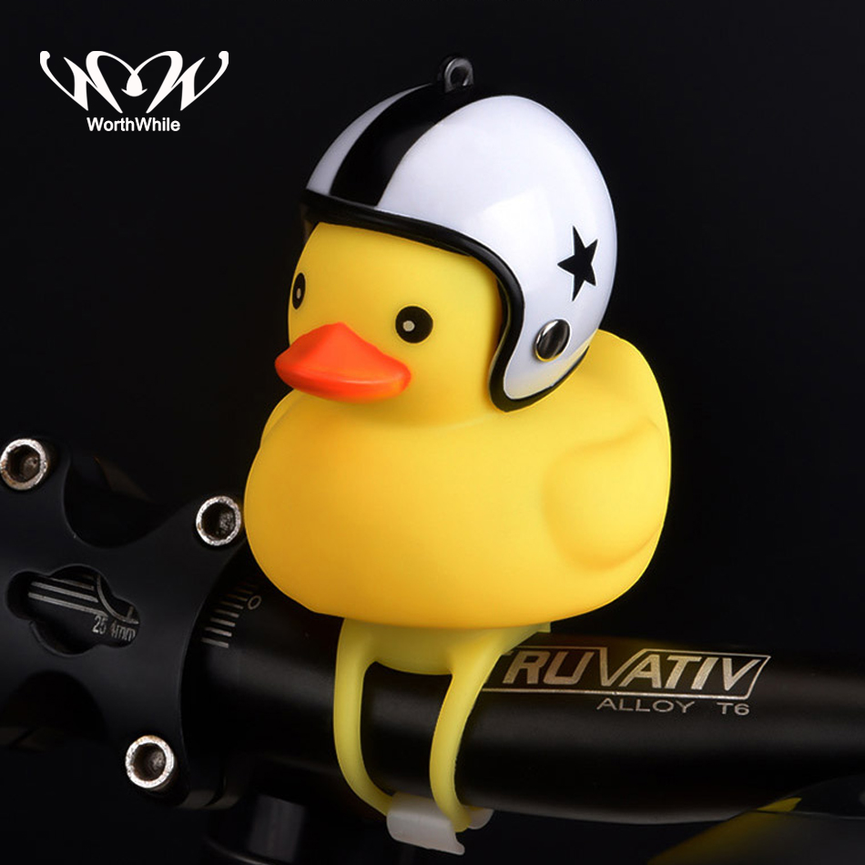 WorthWhile Bicycle Duck Bell with Light Broken Wind Small Yellow Duck MTB Road Bike Motor Helmet Riding Cycling Accessories(China)