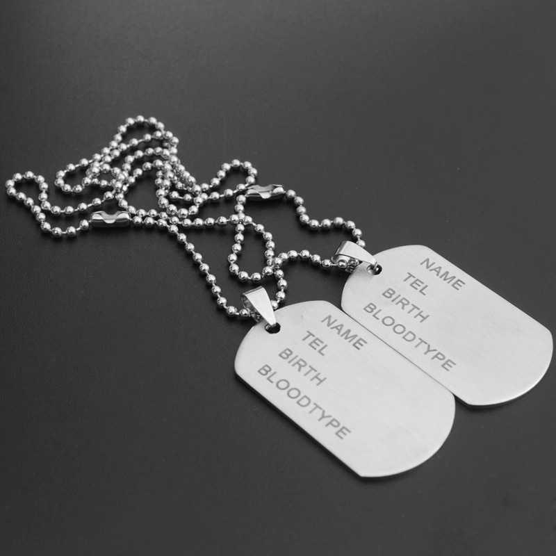 1pc Militaire Leger ID Tag Badge Naam Pet Dog Tags Hanger Man Zilveren Kleur Rvs Ketting Ketting Charm mannen Sieraden Geschenken