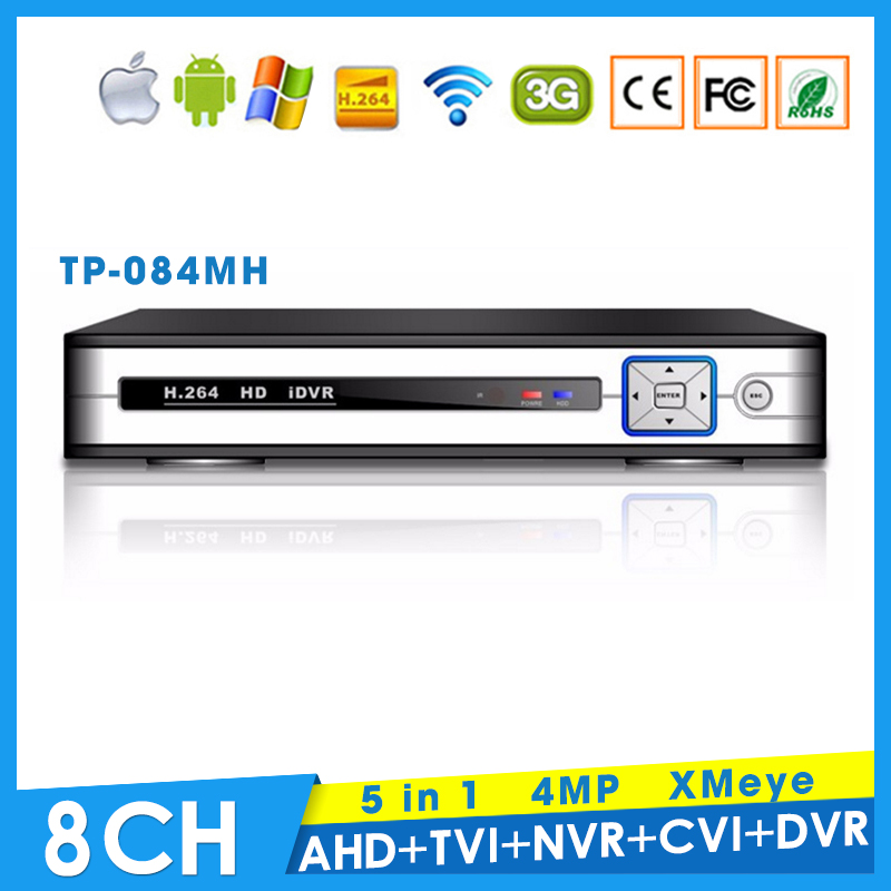 XMeye Hi3521A Chip 4MP 8CH 8 Channel Surveillance Hybrid Coaxial 5 in 1 TVI CVI NVR AHD DVR  with Remote Control Free Shipping