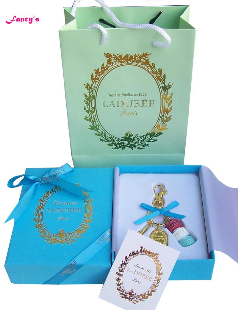 KC15 nowy niebieski (czerwony biały niebieski ciasto) francja makaronik Effiel wieża breloki świąteczne prezenty dla matki w pudełku wstążka torebka
