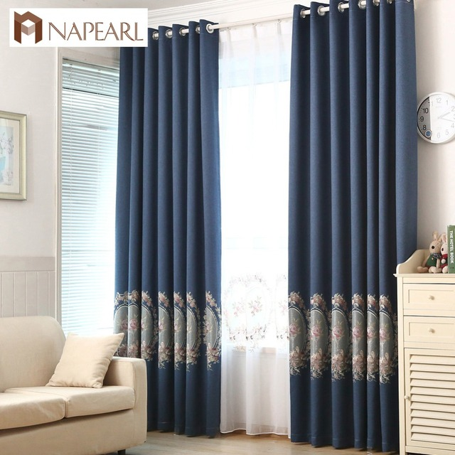 Napearl Blackout Curtains Faux Linen Embroidered Luxury Curtain Navy Blue Green Purple Fl Living Room Window
