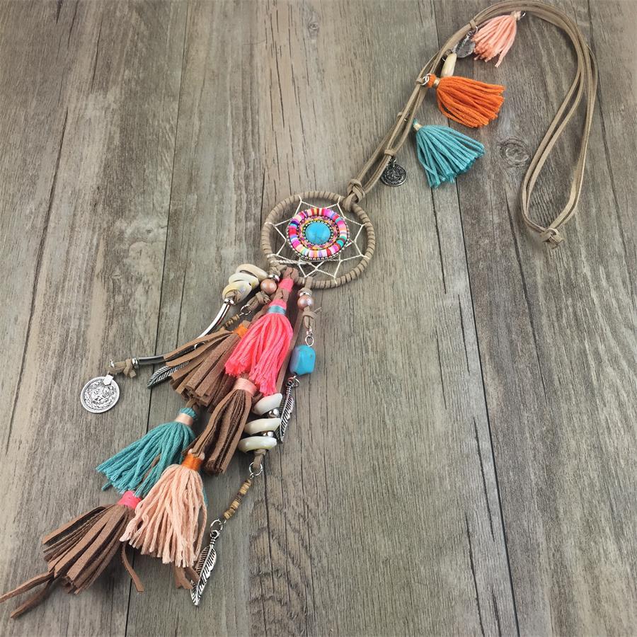 Cuir gland Boho pendentif colliers attrapeur de rêves en cuir chandail chaîne bijoux pour charmes romantiques femmes Collier
