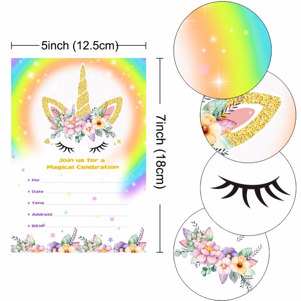 Aytai 100 Pcs Kartu Undangan Ulang Tahun Baby Shower Magical Unicorn