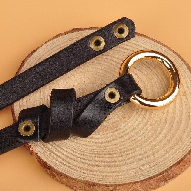 No Hole Knot Female Belt Circular Buckle Genuine Leather Decoration Thin Strap Women Belts Cummerbunds