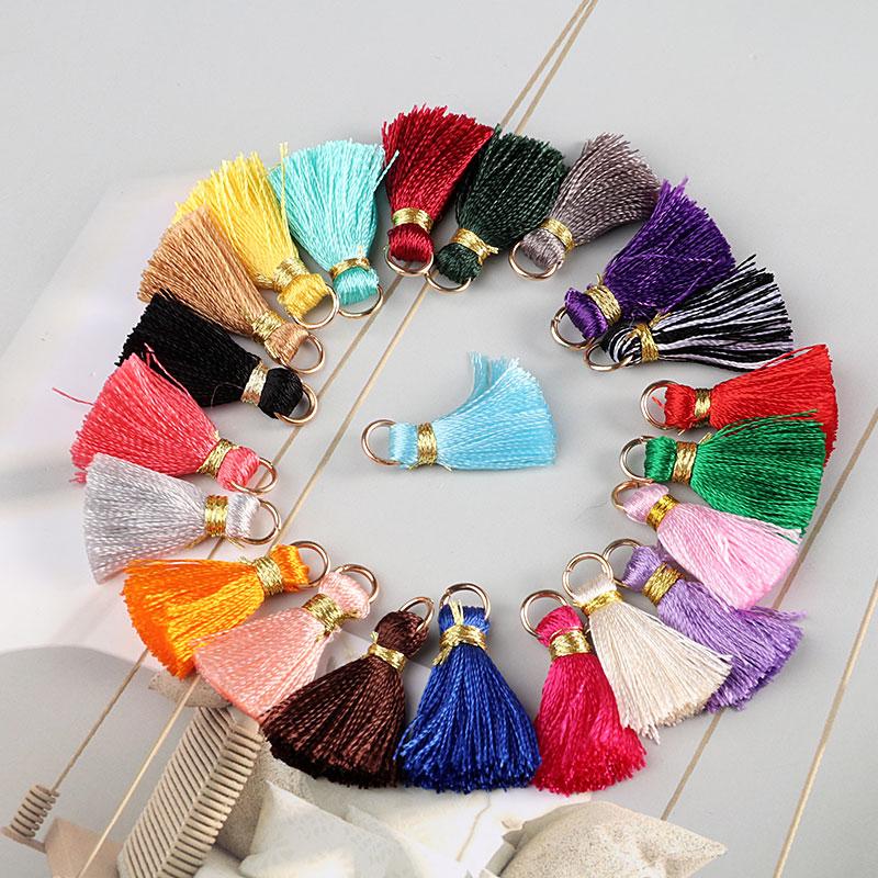 ISequins 10 шт./лот 2 см мини шелковистые кисточки красочные маленькие кисточки для ювелирных изделий diy boho браслет ожерелье принадлежности