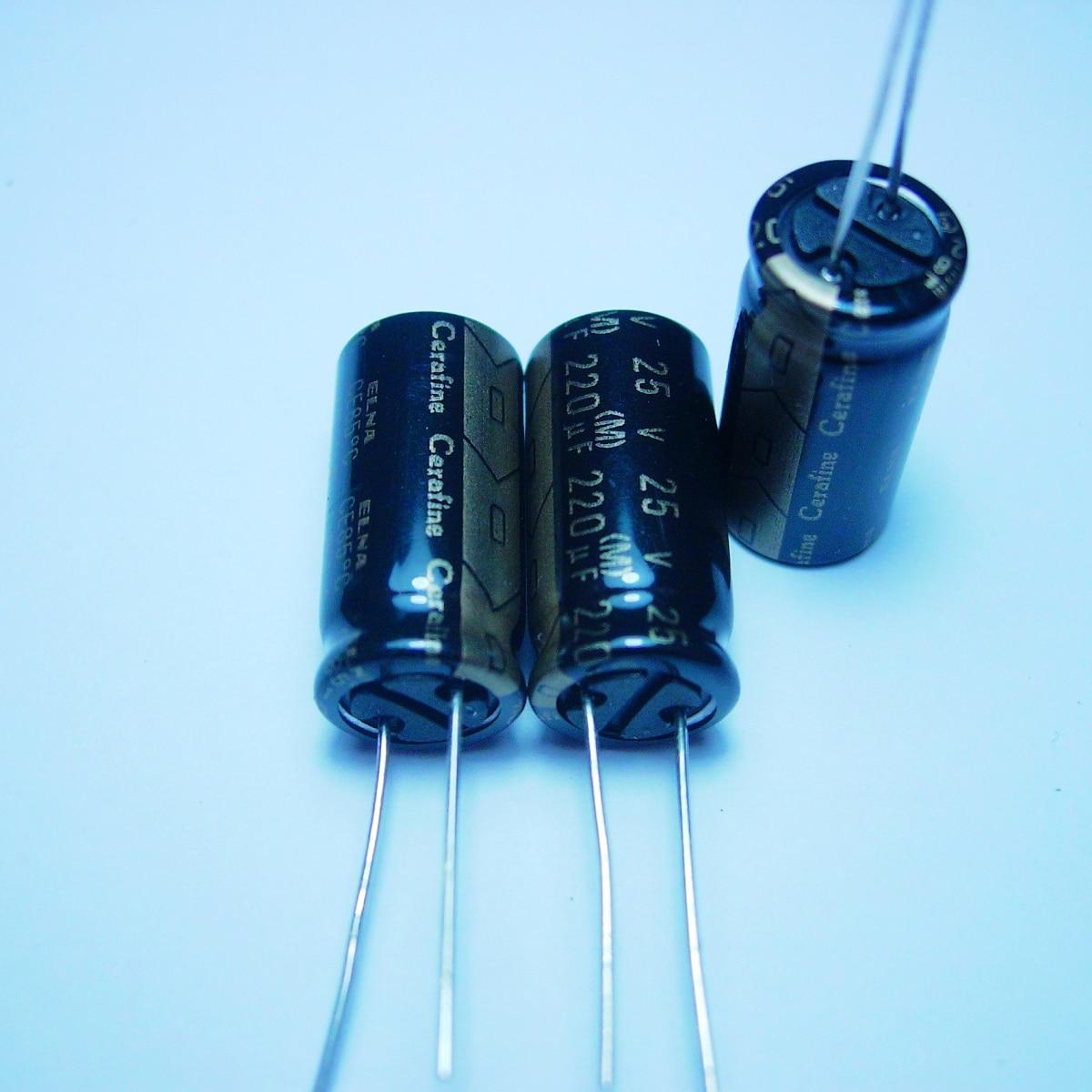 10pcs/20pcs ELNA cerafine 25v220uf black audio condenser copper audio super capacitor electrolytic capacitors free shipping 1