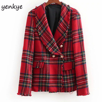 European Style Women Vintage Checkered Tweed Blazer feminino Notched Collar Long Sleeve Double breasted Elegant Office Blazer