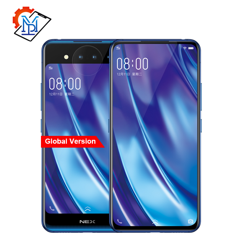 Mondiale Vivo NEX 2 Double Affichage Téléphone portable 6.39 10G RAM 128G ROM Snapdragon 845 Octa Core android 9.0 3D TOF Caméras Smartphone