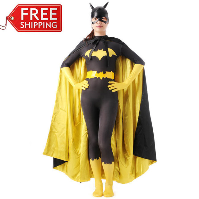 black batman costume adult batgirl women halloween costumes for women sexy superhero cosplay bodysuit zentai mask - Halloween Costumes With A Cape