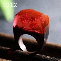 Uilz جديد وصول الأحمر زهرة الراتنج خواتم خشبية خمر اليدوية مجوهرات للنساء بيجو ل هدية عيد JWRP017