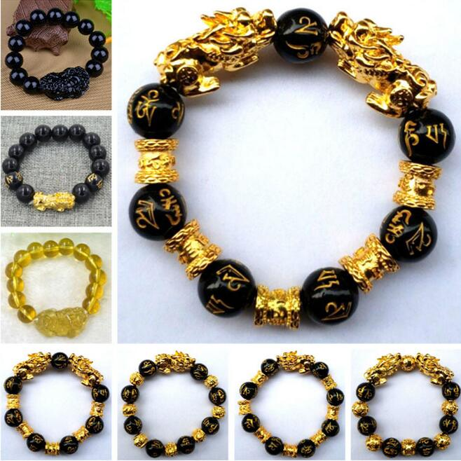 Gold /& Black Fashionable Natural Stone Black Obsidian Pixiu Bracelet Pixiu Lucky Brave Troops Charms Jewelry for Women /& Men
