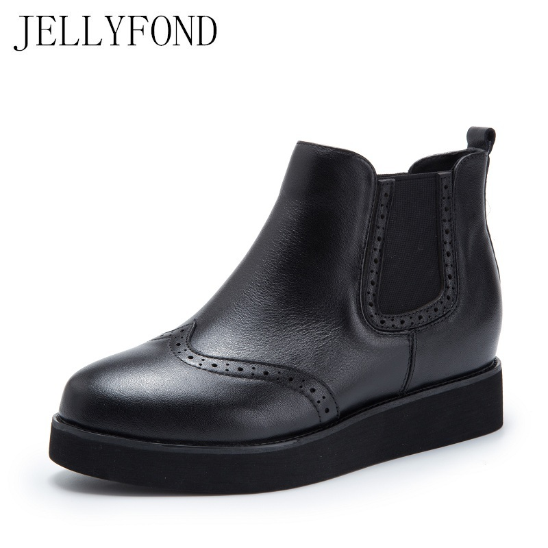 JELLYFOND Brogue Platform Chelsea Boots Women Handmade Genuine Leather Hidden Wedge Ankle Boots Designer Autumn Shoes Woman women s genuine suede leather hemp wedge platform slip on autumn ankle boots brand designer leisure high heeled shoes for women