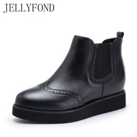 JELLYFOND Brogue Platform Chelsea Boots Women Handmade Genuine Leather Hidden Wedge Ankle Boots Designer Autumn Shoes
