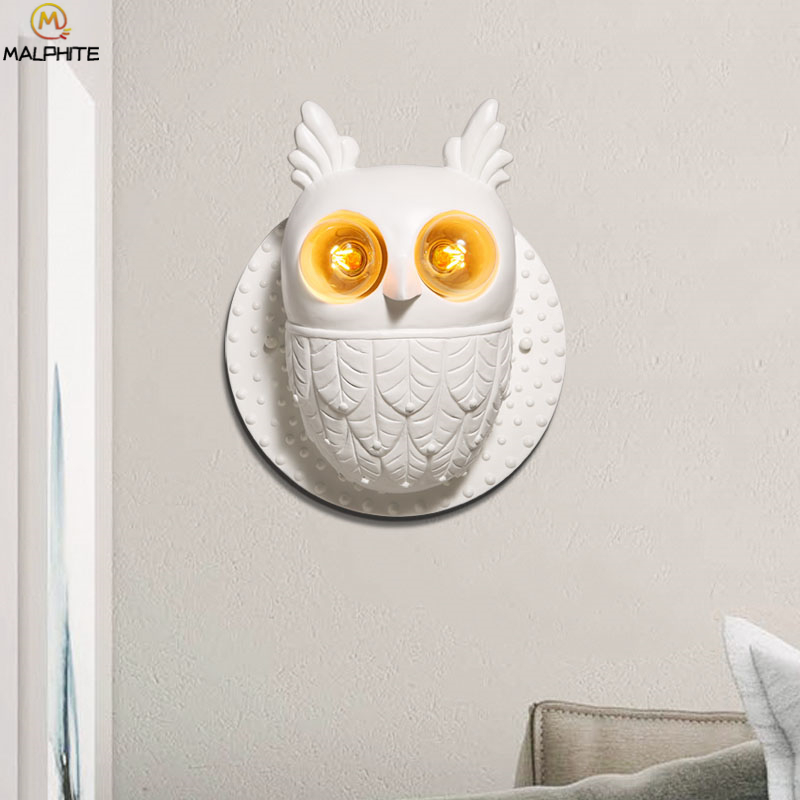 Modern White Hooters Wall Lamp Bedroom Bedside Owl Light Night Fixtures Restaurant Deco Lighting Luminaires