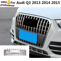 Car body styling Protection detector ABS chrome trim racing Front up Grid Grille grill moulding parts For Audi Q3 2013 2014 2015