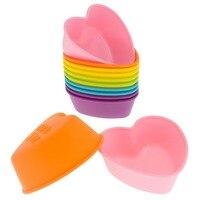 Оптовая продажа Sale12-Pack Силиконовое сердце Многоразовые кекс выпечки сдобы кубок шести ярких Цвет Новая бесплатная доставка