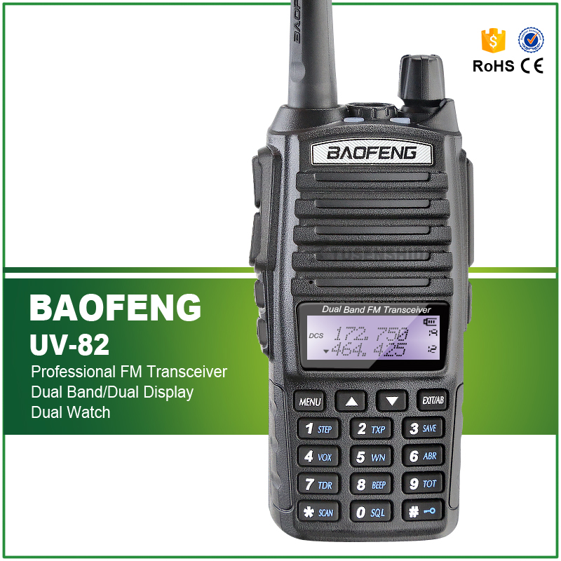 BAOFENG UV 82 VHF UHF Dual Band 136 174 400 520MHz 2 PTT Headset 5W Two