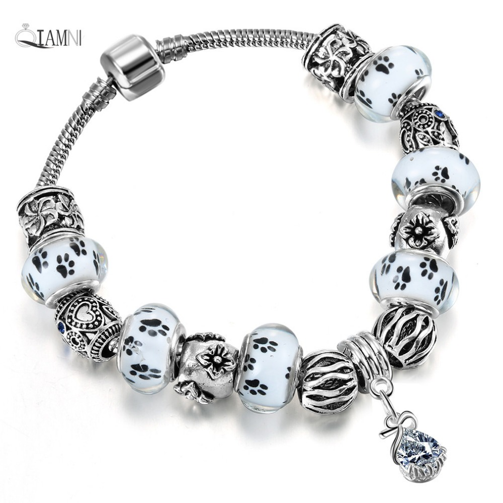 QIAMNI Accessories Gift White Glass Paw Prints Beads Pendant Bracelet & Bangles Fit Women Girl Snake Chain Bijoux DIY Jewelry