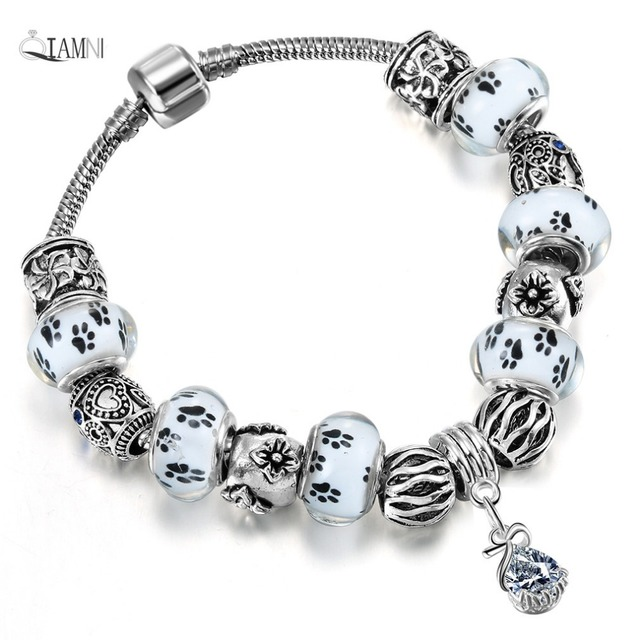 QIAMNI Accessories Gift White Glass Paw Prints Beads Pendant Bracelet & Bangles
