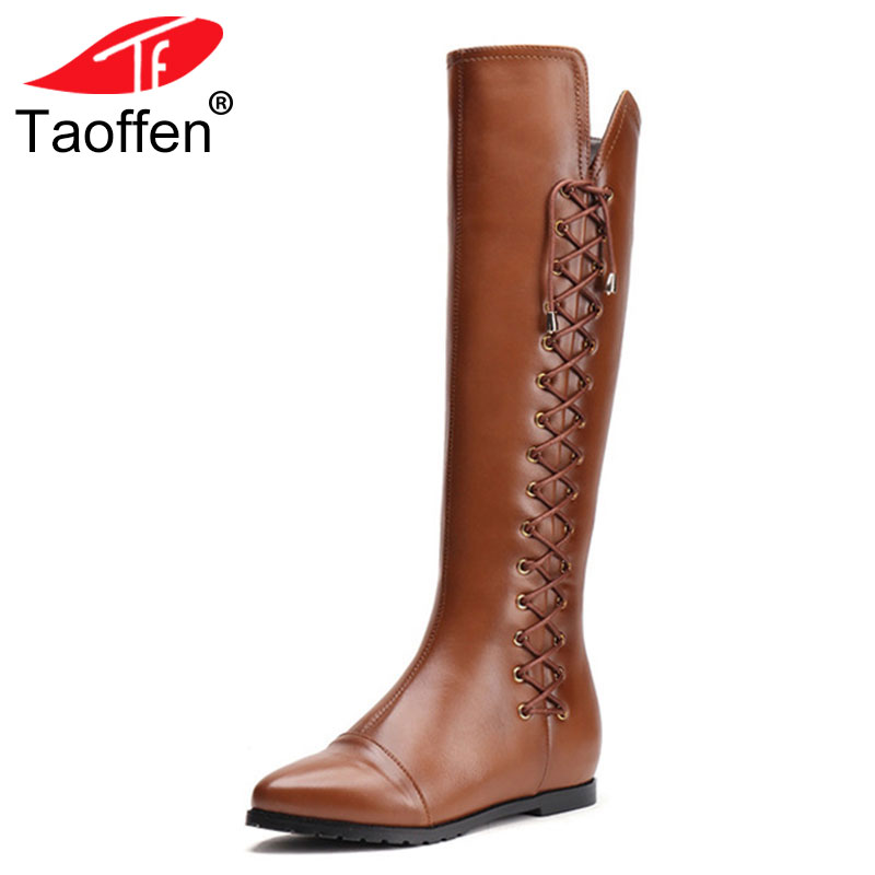 Taoffen Size 33-43 Real Leather Women Knee Boots Zipper Square Heels Winter Shoes Lace Up Womens Pointed Toe Knee High BootsTaoffen Size 33-43 Real Leather Women Knee Boots Zipper Square Heels Winter Shoes Lace Up Womens Pointed Toe Knee High Boots