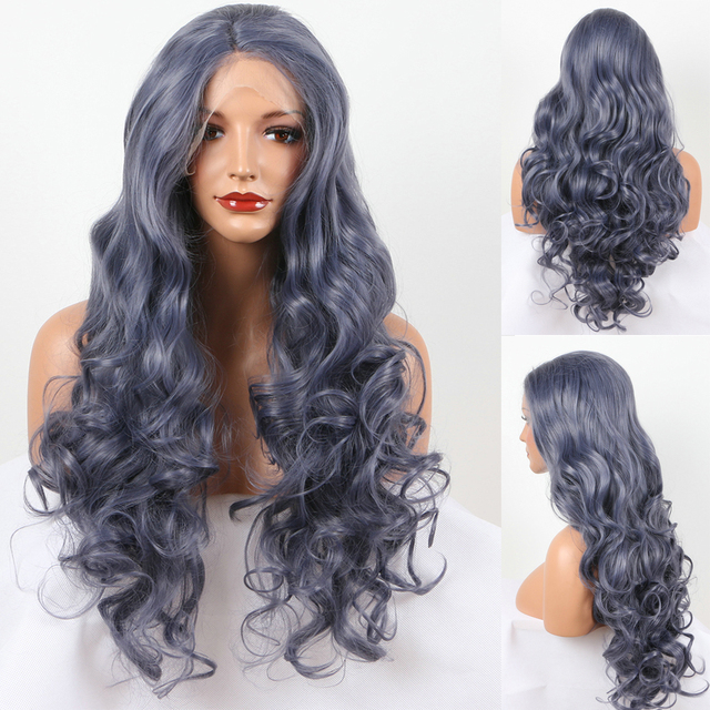 Aurica!!! Fashion Natural Titanium Grey Loose Wave/Curl Synthetic Lace Front Wig Fulll Glueless Heat Resistant Hair Women Wigs