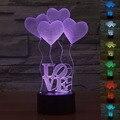 7 Colores USB Del Corazón-AMOR 3D Lámpara de Mesa Luminaria Led Luz de La Noche Interruptor Remoto de iluminación Decorativa Lámpara de estado de Ánimo de San Valentín regalos del Día